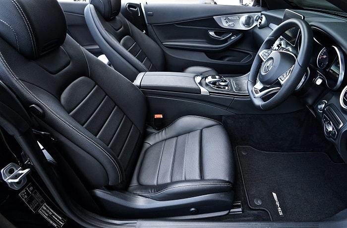 black leather car interior